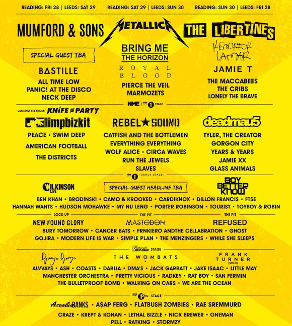 update reading leeds festival 2015 lineup announced featuring metallica refused and run the. Black Bedroom Furniture Sets. Home Design Ideas