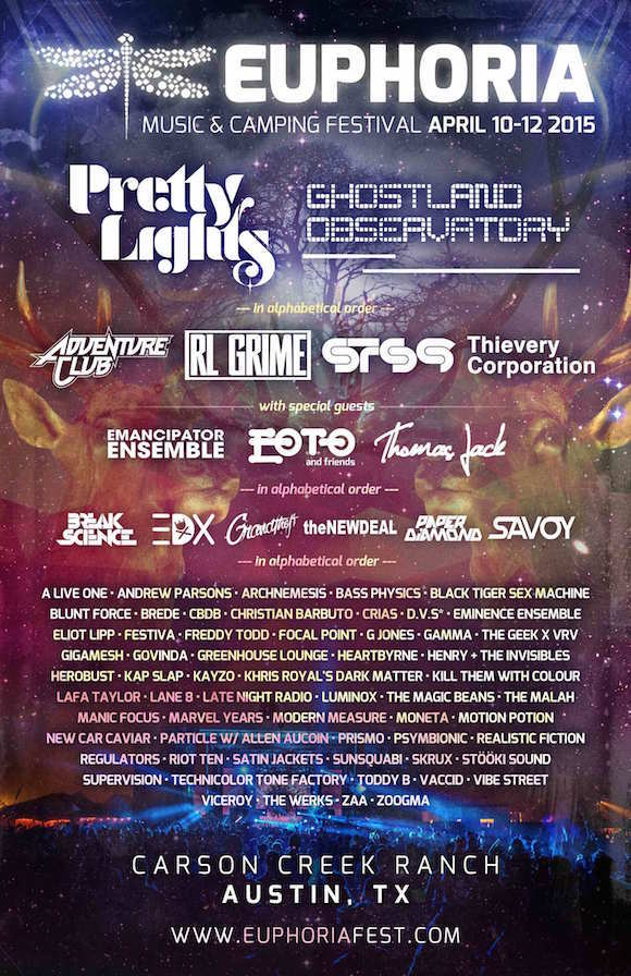 Euphoria Music Festival 2015 Lineup Announced Featuring Pretty Lights, Ghostland Observatory and Thievery Corporation