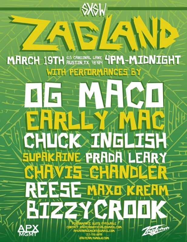 Zagland at SXSW 2015 Announced ft. Chuck Inglish, OG Maco