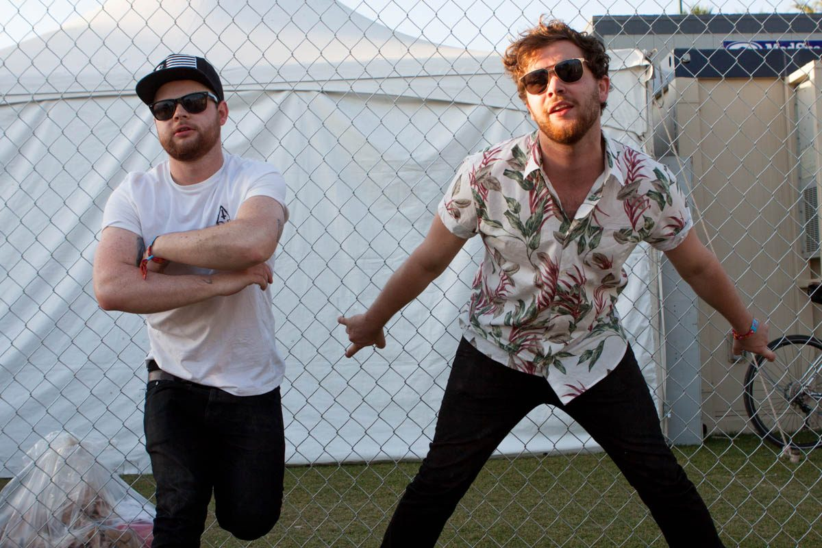 Royal Blood backstage at Coachella.