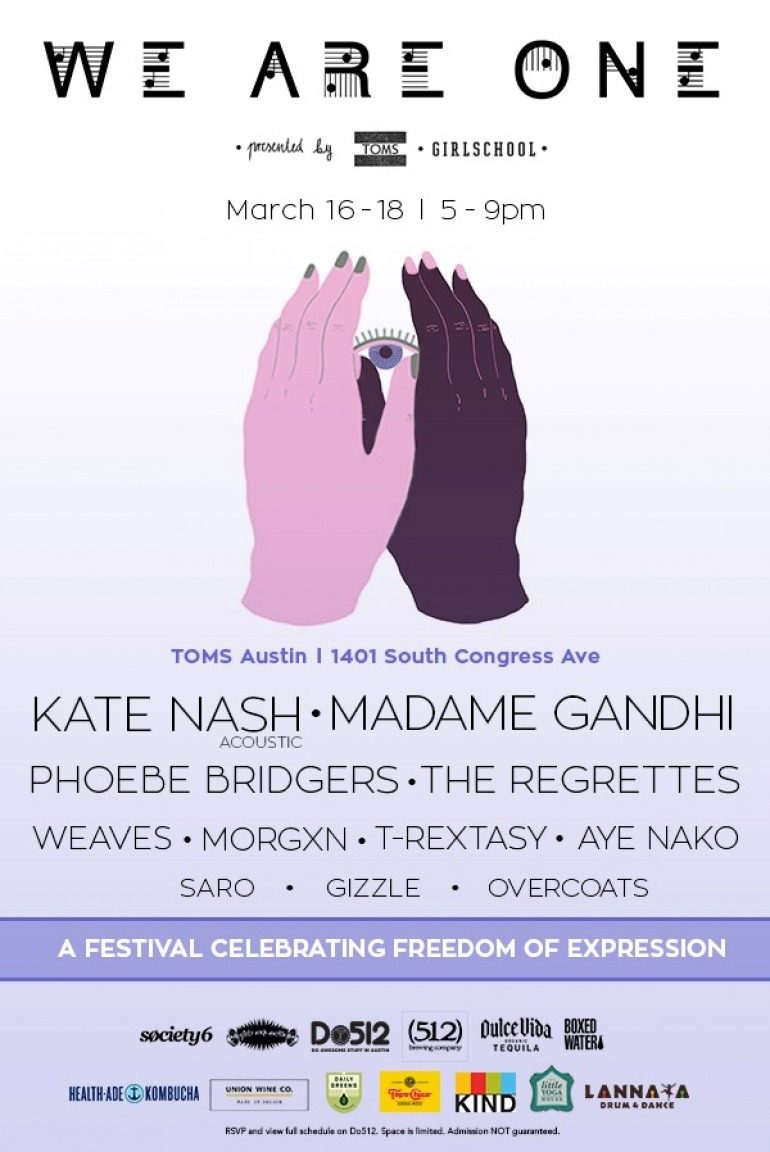 We Are One presented by GIRLSCHOOL, TOMS, and Society6 SXSW 2017 Party Announced ft Kate Nash